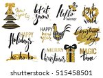 set of merry christmas text ... | Shutterstock .eps vector #515458501