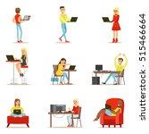 happy people spending their... | Shutterstock .eps vector #515466664
