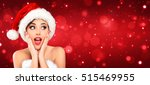 attractive woman with santa hat ... | Shutterstock . vector #515469955