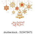 christmas greeting card with... | Shutterstock .eps vector #515473471