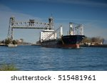 Small photo of Port Colborne, Ontario, Canada - November 10, 2016. The Sedna Desgagnes general cargo lake freighter navigating south up the Welland Canal having passed under the Clarence Street lift bridge