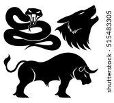 vector set. snake  wolf and...   Shutterstock .eps vector #515483305