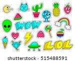 set of fashion patch badges ... | Shutterstock . vector #515488591