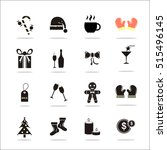 christmas icons with white... | Shutterstock .eps vector #515496145