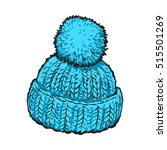 bright blue winter knitted hat... | Shutterstock .eps vector #515501269