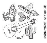 mexican set   sombrero  pinata  ... | Shutterstock .eps vector #515501281