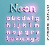 realistic neon character... | Shutterstock .eps vector #515501785