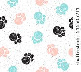Stock vector doodle dog paw seamless background black blue pink paw track abstract dog paw seamless pattern 515505211