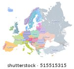 europe vector colorful... | Shutterstock .eps vector #515515315