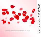 Stock vector background with red rose petals eps vector falling red flower petals against pink background 515517445