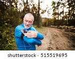Senior Runner In Nature With...