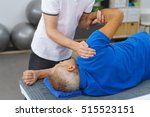 physiotherapist doing shoulder... | Shutterstock . vector #515523151