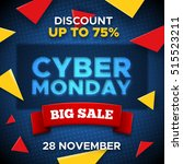 cyber monday sale promo vector... | Shutterstock .eps vector #515523211