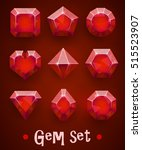 set of realistic red gems of... | Shutterstock .eps vector #515523907