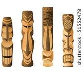 four different wooden hawaii... | Shutterstock .eps vector #51552478