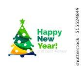 christmas geometric banner ... | Shutterstock .eps vector #515524849