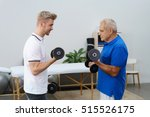 senior man and physical trainer ... | Shutterstock . vector #515526175