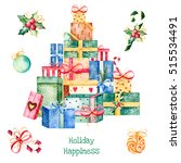 merry christmas and new year... | Shutterstock . vector #515534491