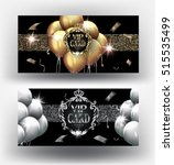 vip gold and silver cards with  ... | Shutterstock .eps vector #515535499