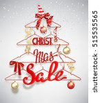 christmas sale banner with... | Shutterstock .eps vector #515535565