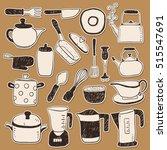 hand draw kitchen utensils... | Shutterstock .eps vector #515547691