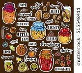 set of hand drawn fruits ... | Shutterstock . vector #515548411