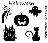halloween black icon set... | Shutterstock . vector #515549581