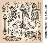 set of doodles in a bohemian... | Shutterstock .eps vector #515553685