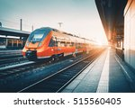 modern high speed red commuter... | Shutterstock . vector #515560405