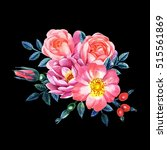 watercolor hand painted roses.... | Shutterstock . vector #515561869