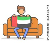 man sitting with the flag... | Shutterstock .eps vector #515565745