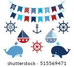 nautical navy blue and red... | Shutterstock .eps vector #515569471
