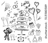hand drawn doodle wedding... | Shutterstock .eps vector #515580589