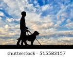 blind disabled with cane and... | Shutterstock . vector #515583157