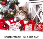 christmas kitten | Shutterstock . vector #515585569
