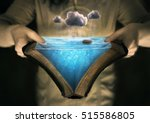 an open bible with the story of ... | Shutterstock . vector #515586805