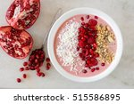 smoothie bowl with pomegranates ... | Shutterstock . vector #515586895