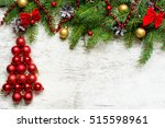 christmas tree from red balls... | Shutterstock . vector #515598961