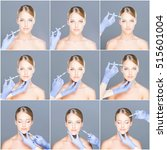 doctor injecting in a beautiful ... | Shutterstock . vector #515601004