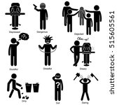 set of negative character... | Shutterstock .eps vector #515605561