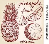 fruit pineapple set hand drawn... | Shutterstock .eps vector #515609461