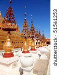 Stupas in front of ancient temple in Myanmar! - stock photo