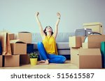 happy young woman moving to new ...   Shutterstock . vector #515615587