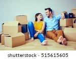 happy couple having break... | Shutterstock . vector #515615605