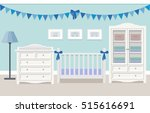 baby room interior for boy with ... | Shutterstock .eps vector #515616691