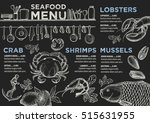 seafood menu placemat food... | Shutterstock .eps vector #515631955