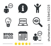 byod icons. human with notebook ... | Shutterstock .eps vector #515641225