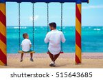 father and son talking on... | Shutterstock . vector #515643685