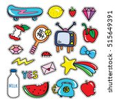 stickers collections in pop art ... | Shutterstock .eps vector #515649391