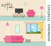 colorful flat style livingroom... | Shutterstock .eps vector #515651611
